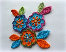 Crochet flowers Applique pattern leaves bright flowers