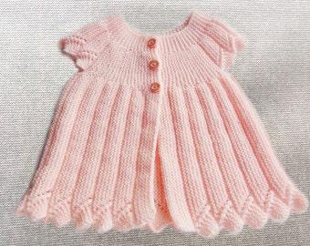 Baby dress, newborn dress, hand knitted baby dress , peachpuff dress
