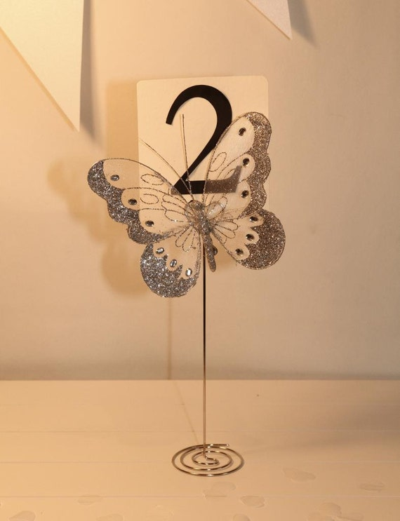 Butterfly wedding table number stand holder silver gold for Un stand