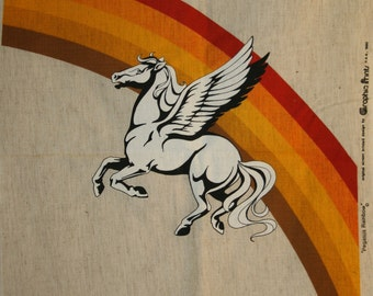 "1980 ""Pegasus Rainbow"" Original Screen Printed Design by GRAPHIC PRINTS USA Vintage New Stock Graphic Panel"