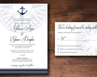 Nautical Elegant Formal Anchor Compass  Wedding Invitation Set Made to Order