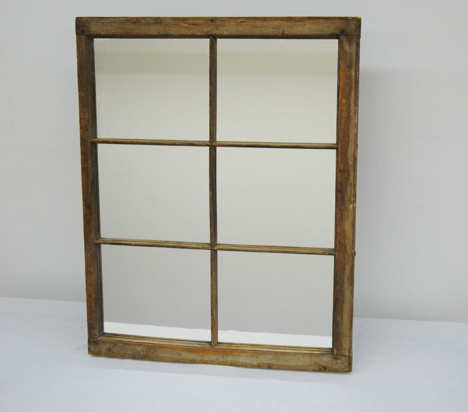 reclaimed old window wood frame with mirror