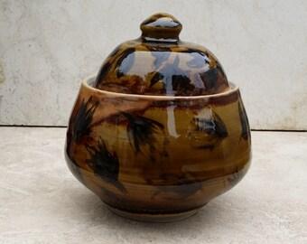 OOAK Small Lidded Jar Amber Celedone