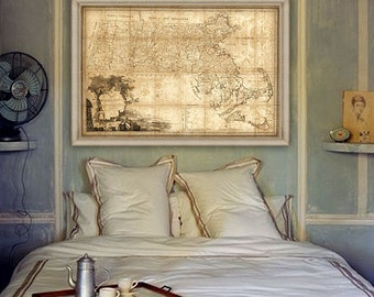 "Old map of Massachusetts 1801, Massachusetts map in 4 sizes up to 54x36"" MA map, Massachusetts US Large poster - Limited Edition of 100"
