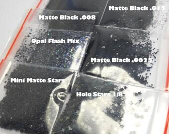 Black Solvent Resistant Glitter x 5 Sample Selection 15g