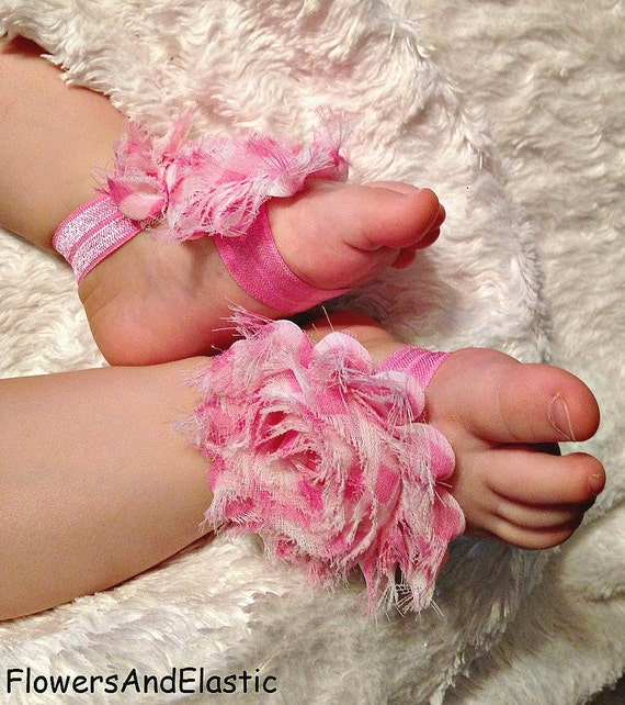 Pink /White Stripe flower Baby Barefoot Sandals ,Shabby Flowers with Pink Elastic , Toddler Sandals ,Newborn Sandals ,Baby Flower Sandals