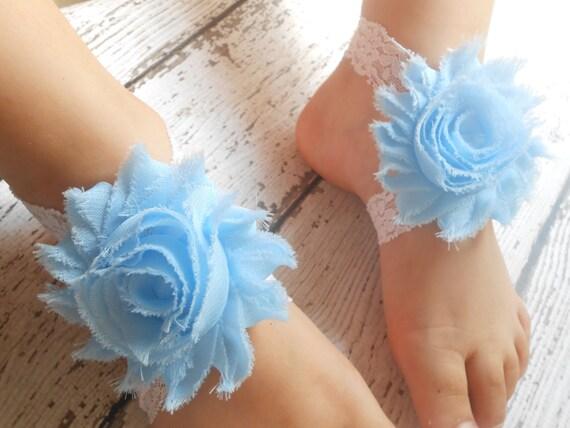 blue flower Baby Barefoot Sandals ,shabby Flowers  , Toddler Sandals ,Newborn Sandals ,Baby Flower Sandals