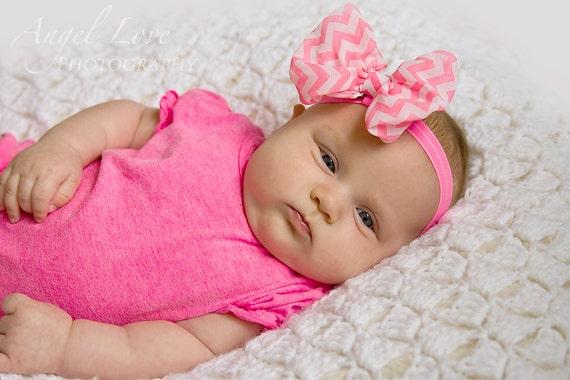 "Pink Bow Baby Headband, 4"" Newborn Headband,  Infant Headband,Baby Headband, Headband Baby, Baby Headband"