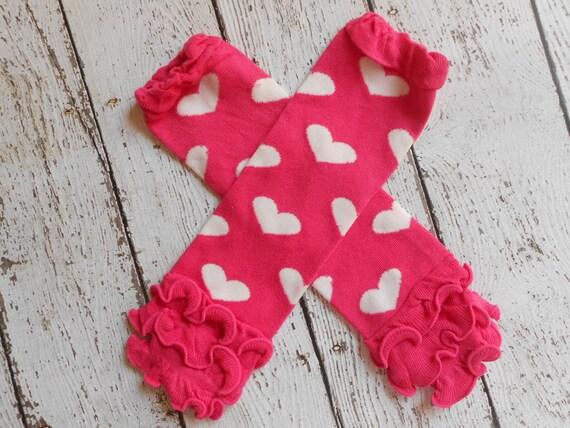 Hot Pink/ White Hearts  Leg Warmers with Ruffles, Leg Warmer, Girl Leggins, Wholesale Leg Warmers, One Size Leg Warmers