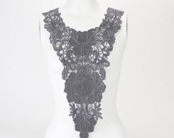 Gray Leather and Lace V Shape Floral Embroidered Lace Applique