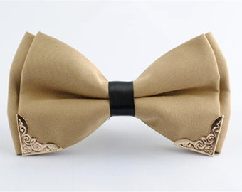 Silk Bow Tie.Mens Bow Tie.Wedding Bow Tie. Beige Bow Tie With Phnom Penh for Wedding