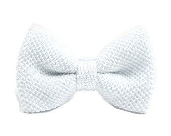 Knit Bow Tie.White Knitted Bow Tie,Bowtie for Wedding,Party.Gifts