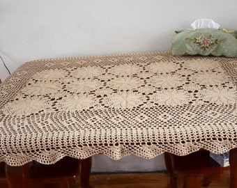 Hand Crochet Pattern Square Coffee Table Topper Nightstand