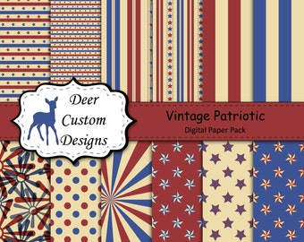 Vintage Patriotic Digital Paper Pack | 12 Patriotic Digital Scrapbook Papers | Commercial Use | Memorial Day July 4th July Fourth