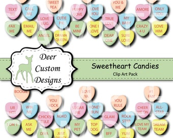 Valentines Sweetheart Candy Digital Clipart Pack | 50 Heart Candies PNG  Clip Art | Commercial Use