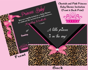 Cheetah and Pink Princess Baby Shower Invitation (Front and Back Print).......Digital Download