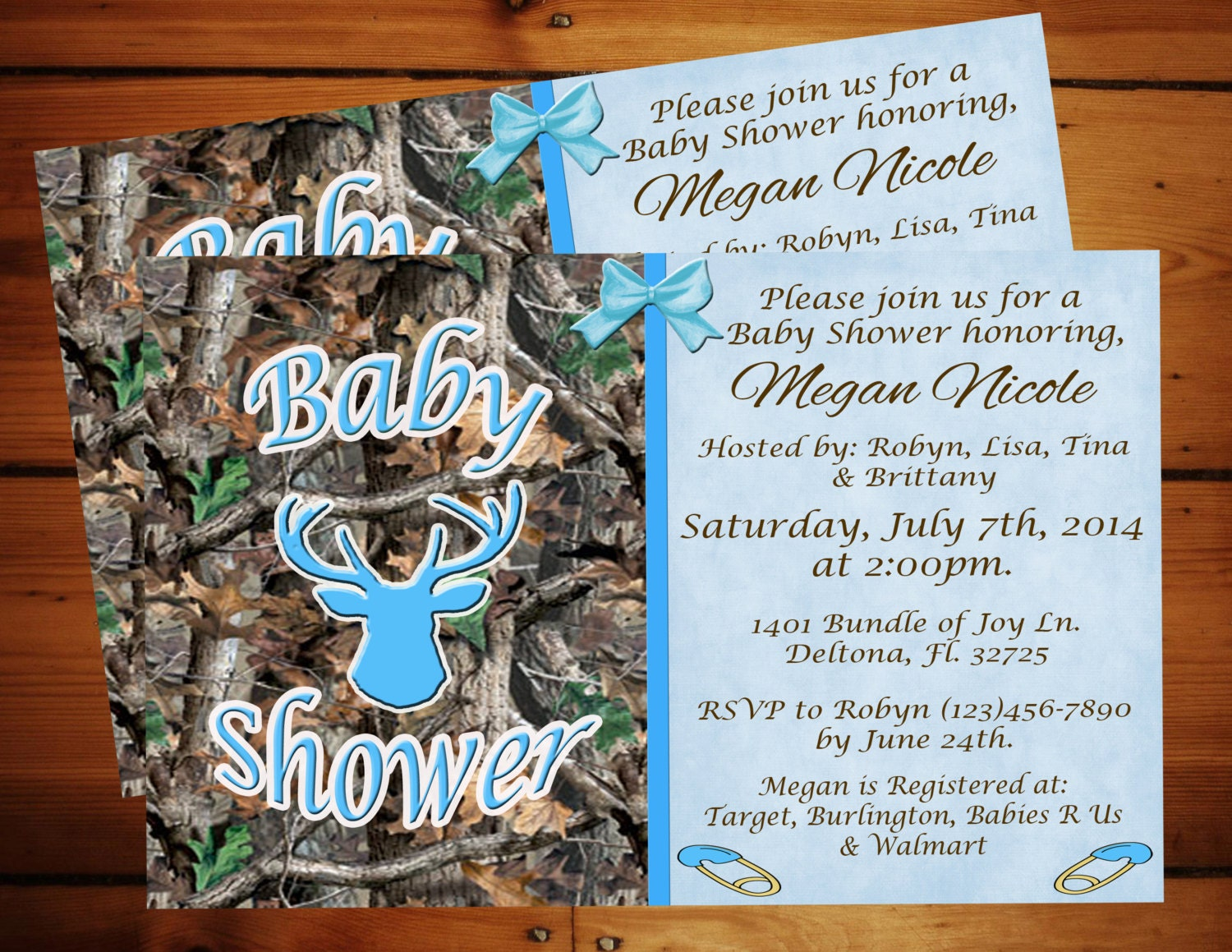 little boy blue camo baby shower invitation printable