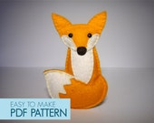 Easy to sew felt PDF pattern. DIY Tania the Fox, finger puppet and ornament.