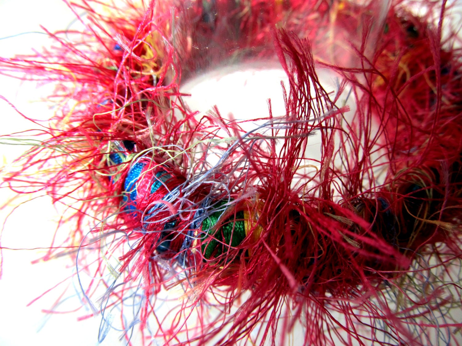 Eyelash Yarn : Multicolored Ribbon & Glitter Eyelash Yarn Hand by MimzyJewelry