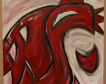 Wsu Cougars Logo Abstract Painting