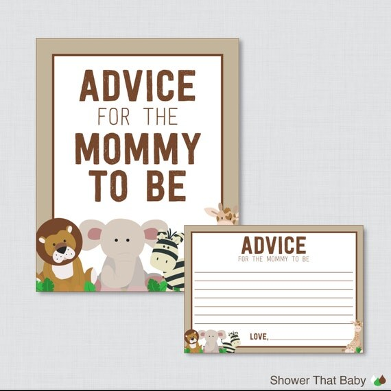 Baby Shower Tips For New Moms: Advice For Mommy To Be Cards And Sign Safari By ShowerThatBaby
