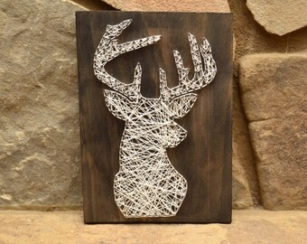 Custom Wood Wildlife Deer Head String Art Home Decor