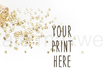 Gold Party Sequin Confetti Spilling from Gold Cup on White / Stock Photography / Styled Background / Product Styling / High Res File #114