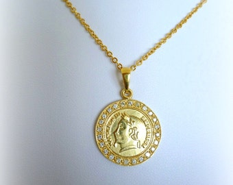 Coin Necklace Gold fill 14K pendant  coin pendant, vintage style gift for her