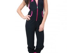Womens Backless Jumpsuit with lined hood