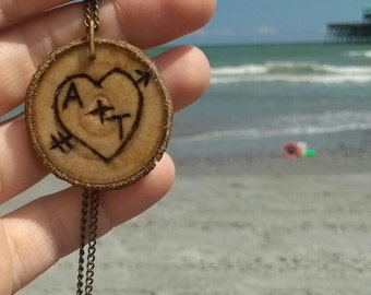 Custom Sweetheart Wood Burned Essential Oil Diffuser Necklace  -- FREE SHIPPING