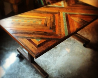 6 foot reclaimed counter height dining table on casters by Pobrecito