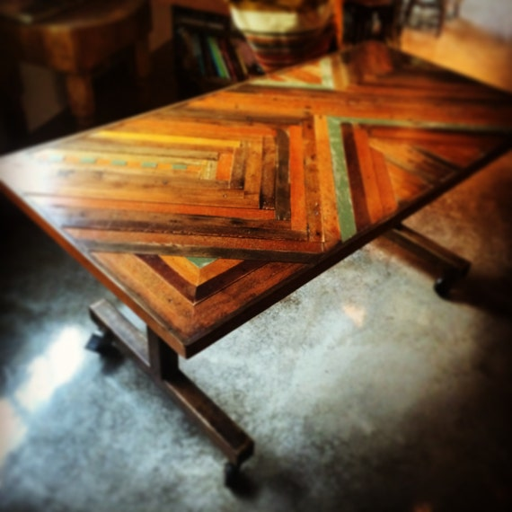 6 foot reclaimed counter height dining table on casters by