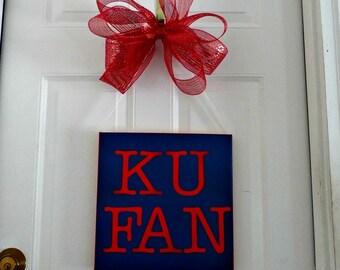 KU fan sign, ku fan, ku wreath, kansas university, ku wreaths, wall décor, room décor, wall hanging, Kansas Jaywaks, College Room Décor, ku