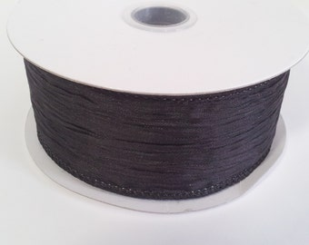 """1 1/2"""" Wired Polyester Crinkled Woven Ribbon - Black - 10 Yards"""