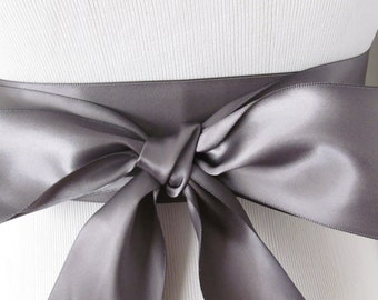Pewter Ribbon Sash / Double Faced Ribbon Sash / Bridal Sash / Bridal Ribbon / Pewter