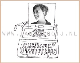 Typewriter clip art illustration. Ideal as digital clip art to enhance your logo, website or businesscard. Personalize with your own photo!