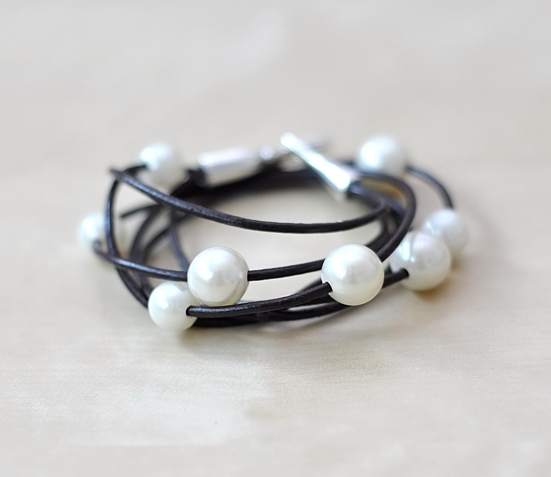 leather wrap bracelet pearl beaded wrap boho chic wrap. Black Bedroom Furniture Sets. Home Design Ideas
