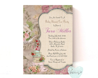 Baby Tea Party Invitation - Printable Baby Shower Invitation - Vintage Floral - ANY EVENTS - Printable OR Printed No.87BABY