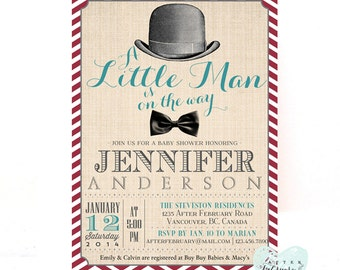 Little Man Baby Shower Invitation - Bow Tie Little Gentleman - Red and Blue - Typography - Printable OR Printed No.138BABY