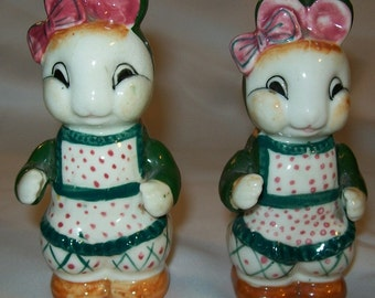 Salt and Pepper Shakers - Vintage Bunny