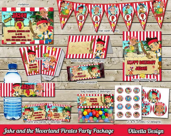 Like this item?  sc 1 st  Etsy & Jake and the Neverland Pirates Birthday Party Package