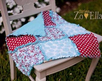 Seuss Mini Rag Quilt - photography prop, security blanket, baby gift