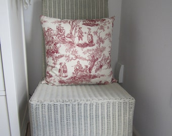 Funky and edgy Toile de Jouy cushion