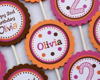 Fall Birthday Cupcake Toppers - Set of 12 Personalized Birthday Party Decorations - Pink, Orange, Brown