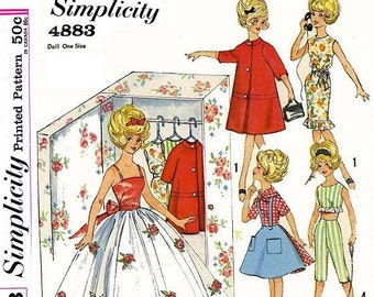"""Closet Full of Clothes Pattern for 11-1/2"""" to 12"""" Dolls (even includes the Pattern for  the Closet!)"""