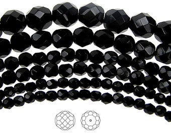 8mm (51pcs) Jet black, Czech Fire Polished Round Faceted Glass Beads, 16 inch strand