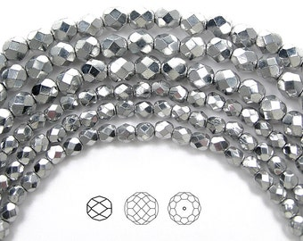 3mm (135pcs) Crystal Labrador 2X fully coated, Czech Fire Polished Round Faceted Glass Beads, 16 inch strand