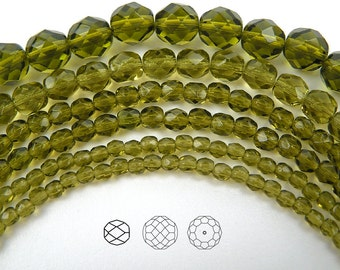 10mm (41pcs) Olivine, Czech Fire Polished Round Faceted Glass Beads, 16 inch strand