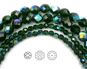 4mm (102pcs) Emerald AB coated, Czech Fire Polished Round Faceted Glass Beads, 16 inch strand
