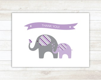 PRINTABLE thank you cards baby shower purple elephants thank you card - personal use